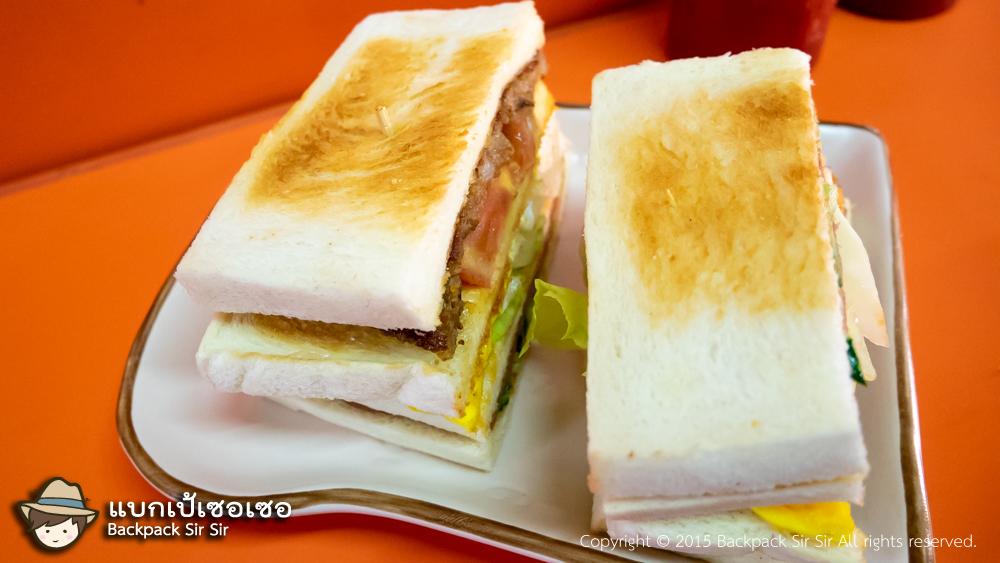 รีวิวเบอร์เกอร์หมูและแซนด์วิช ร้านชูอาม่า Chu A Ma Breakfast 秋奶奶早餐店 เที่ยวไต้หวัน ที่ไทเป