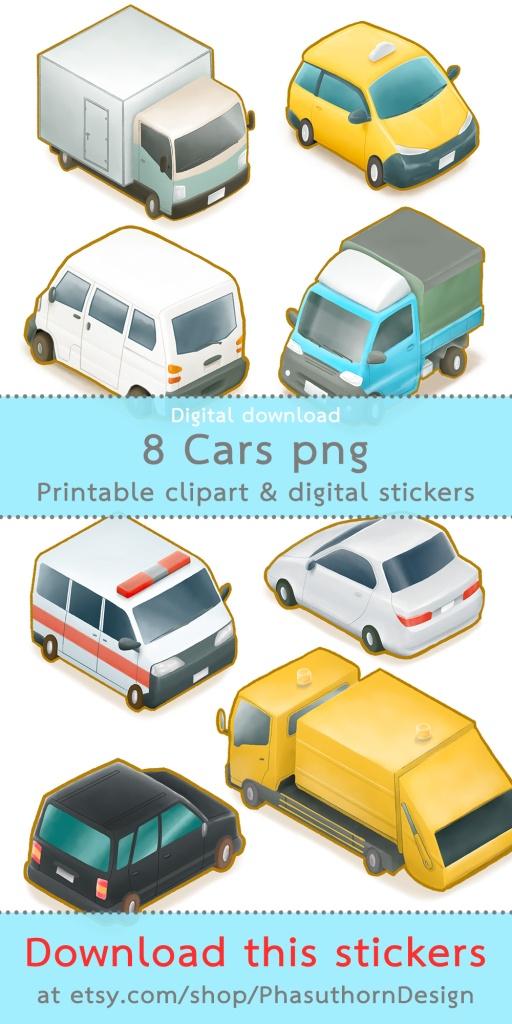 รถยนต์ที่เคยเห็นในไต้หวัน Cute cars in Taiwan that I saw, ในรูปแบบสติกเกอร์ stickers png watercolor clipart sticker sheet