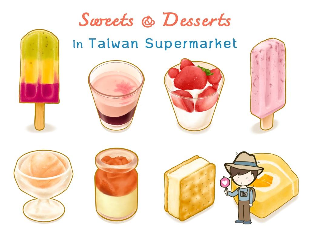 Sweet and Dessert in Taiwan supermarket, Digital printable stickers