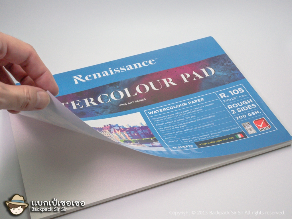 รีวิวกระดาษสีน้ำ Renaissance Watercolour Paper 200 แกรม ปกสีฟ้า